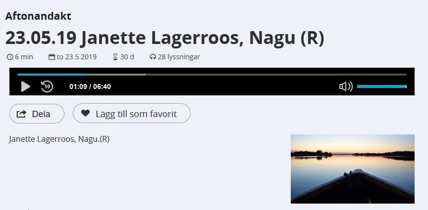 Skärmdump av Yle Arenan och Janettes andakt