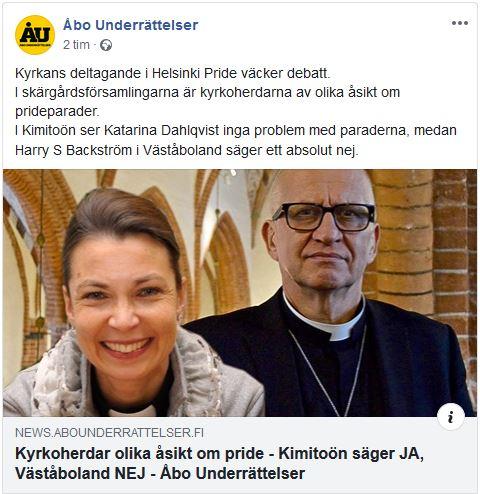 Skärmdump från ÅU:s facebook Kyrkoherdar olika åsikt - Kimitoön säger JA, Väståboland NEJ