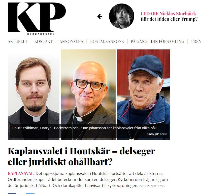 Skärmdump från Kyrkpressens hemsida. Rubrik Kaplansvalet i Houtskär - delseger eller juridiskt ohållbart?